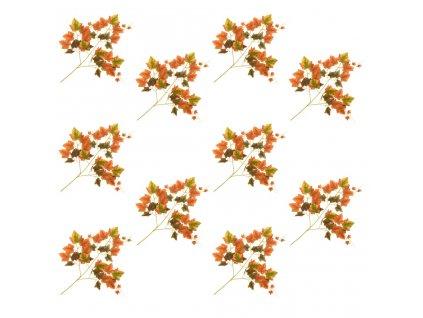 Umělé listy vinná réva 10 ks červené 70 cm