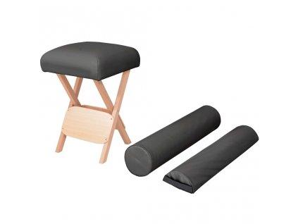 Skládací masážní stolička, 12 cm silný sedák, 2 opěrky, černá