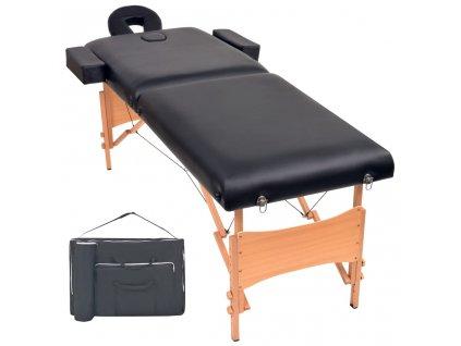 2zónový skládací masážní stůl 10 cm silný černý