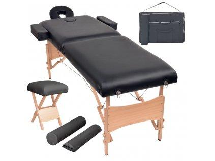 2zónový skládací masážní stůl a stolička tloušťka 10 cm černé