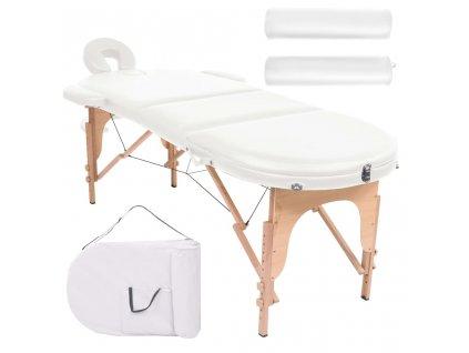 Skládací masážní stůl se 2 opěrkami tloušťka 10 cm oválný bílý