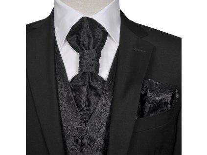 Pánská paisley svatební vesta a doplňky velikost 48 černá