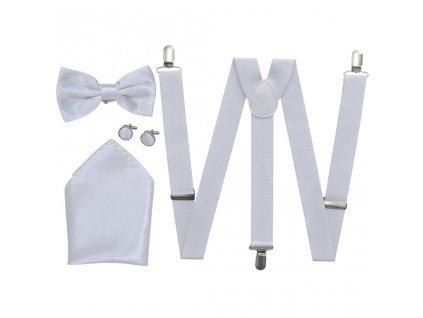 Sada doplňků k pánskému obleku/smokingu, šle a motýlek, bílá
