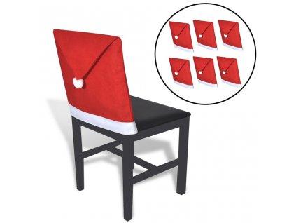 Potahy na opěradla židle 6 ks čepice Santa Clause