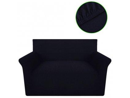 Strečový potah na pohovku, černý bavlněný žerzej