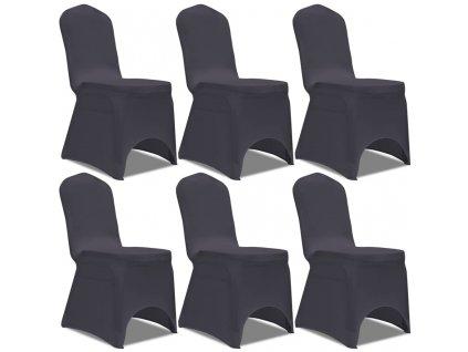 Strečové potahy na židle 6 ks antracitové