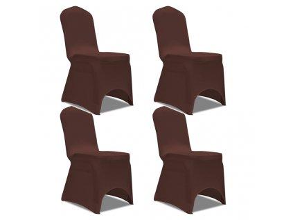 Strečové potahy na židle 4 ks hnědé