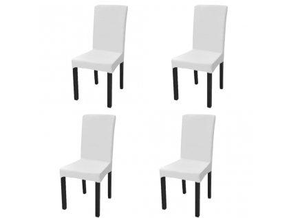 Hladké strečové potahy na židle 4 ks bílé