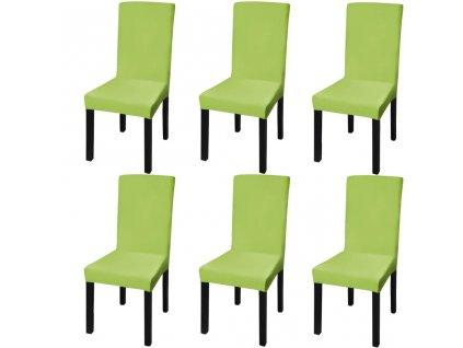Hladké strečové potahy na židle 6 ks zelené
