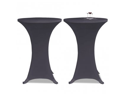 Strečový návlek na stůl 2 ks 70 cm antracitový
