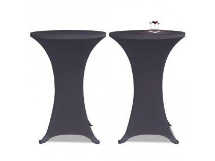Strečový návlek na stůl 2 ks 80 cm antracitový
