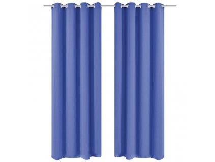 Zatemňovací závěsy s kovovými oky, 2 ks, 135x245 cm, modrá