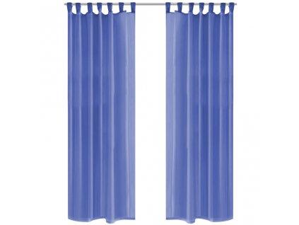 Voálové závěsy, 2 ks, 140x225 cm, královská modř