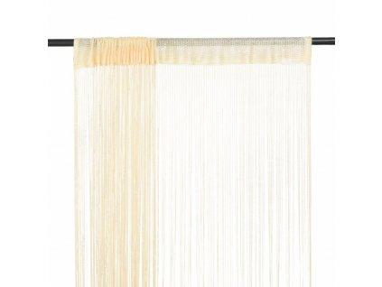 Provázkové záclony 2 ks 140 x 250 cm krémové