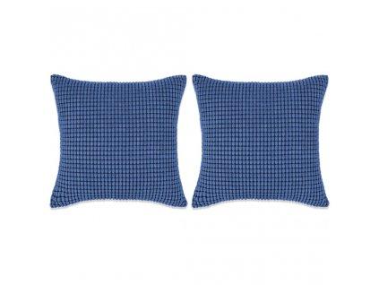 Sada polštářů 2 ks velur, 45 x 45 cm, modré