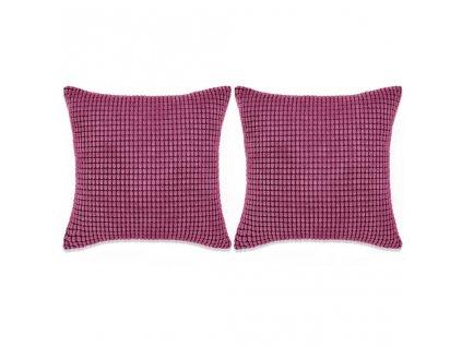 Sada polštářů 2 ks velur, 45 x 45 cm, růžové