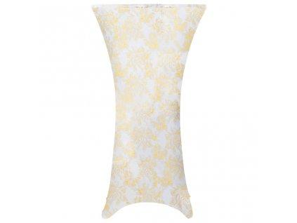 Elastické návleky na stůl 2 ks bílé se zlatým potiskem 80 cm