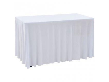 Rautové sukně s řasením 2 ks bílé 120 x 60,5 x 74 cm