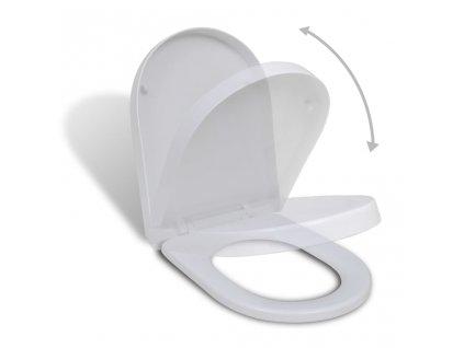 Toaletní sedátko s pomalým sklápěním bílé čtvercové