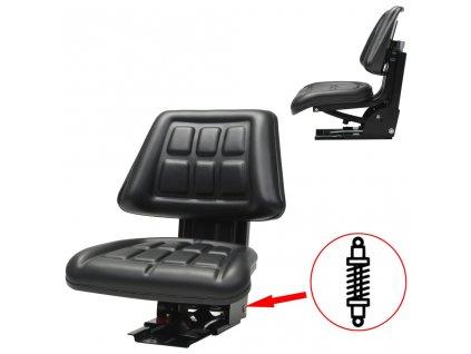 Traktorová sedačka s odpružením, černá