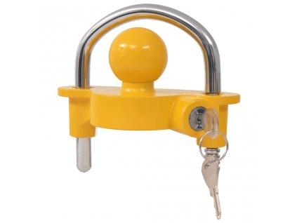 Zámek tažného kloubu s 2 klíči, ocel a hliníková slitina, žlutý