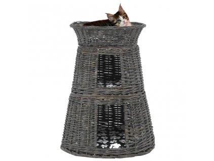 3dílný pelíšek pro kočky s poduškami šedý 47 x 34 x 60 cm vrba