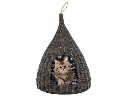 Domeček pro kočky s poduškou šedý 40 x 60 cm přírodní vrba týpí