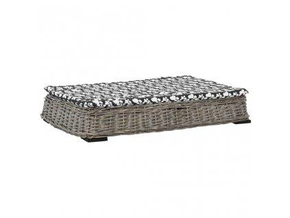 Pelíšek pro psy s poduškou šedý 95x65x15 cm vrba plochý design