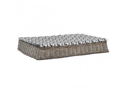 Pelíšek pro psy s poduškou šedý 110x75x15 cm vrba plochý design