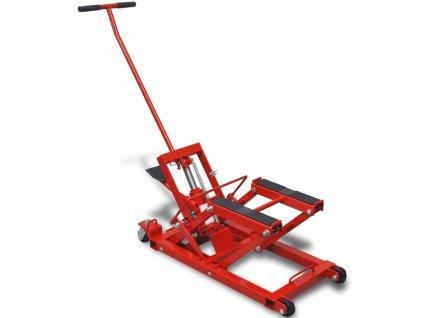Hydraulický zvedák na motorku / čtyřkolku, 680 kg, červený