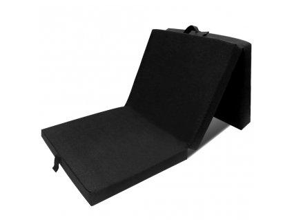 Trojdílná skládací pěnová matrace 190x70x9 cm černá