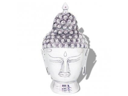 Hlava Buddhy, dekorace hliníková stříbrná