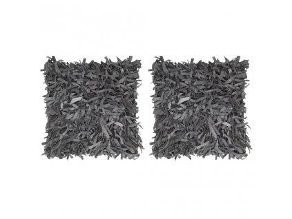 Polštáře 2 ks střapaté šedé 45 x 45 cm kůže a bavlna