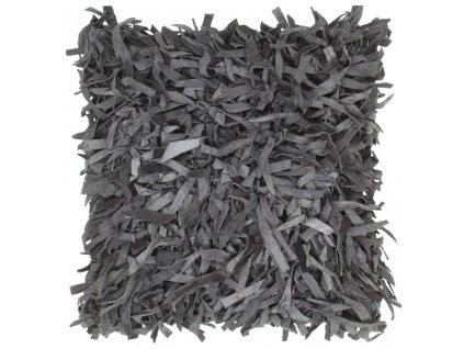 Polštář střapatý šedý 60 x 60 cm kůže a bavlna