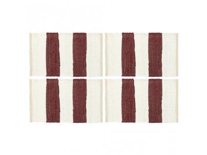 Prostírání 4 ks chindi proužky vínové a bílé 30 x 45 cm