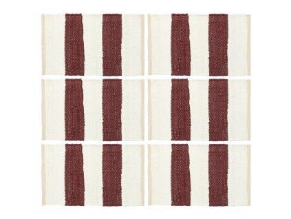 Prostírání 6 ks chindi proužky vínové a bílé 30 x 45 cm