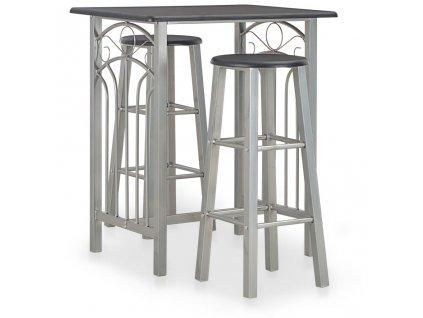 3dílný barový set dřevo a ocel černý