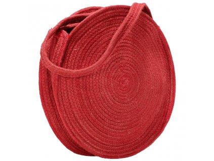 Kulatá taška přes rameno rezavě červená ručně vyrobená juta