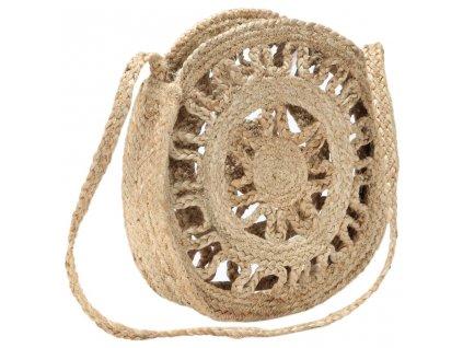 Kulatá taška bez podšívky přírodní ručně vyrobená juta