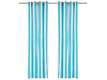 Závěsy s kovovými kroužky 2 ks textil 140 x 245 cm modré pruhy