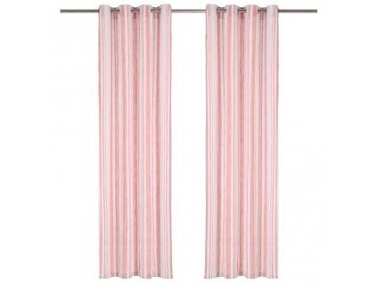 Závěsy s kovovými kroužky 2 ks bavlna 140 x 225 cm růžové pruhy