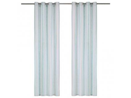 Závěsy s kovovými kroužky 2 ks bavlna 140 x 225 cm modré pruhy