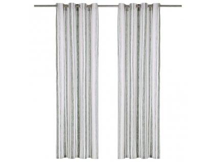 Závěsy s kovovými kroužky 2 ks bavlna 140 x 245 cm zelené pruhy