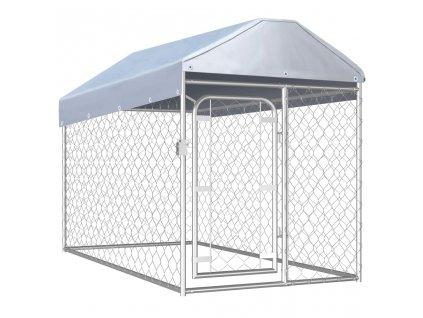Venkovní psí kotec se střechou 200 x 100 x 125 cm