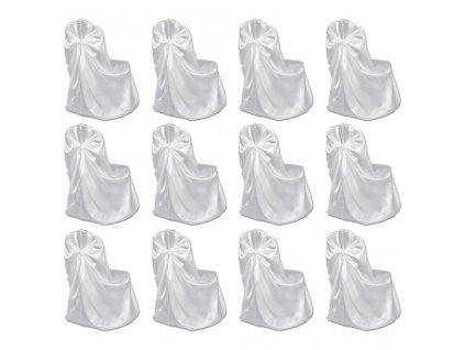 Potahy na židle pro svatební hostinu 12 ks bílé