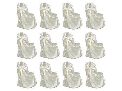 Potahy na židle pro svatební hostinu 12 ks krémové