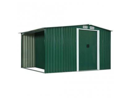 Zahradní domek posuvné dveře zelený 329,5x131x178 cm ocel