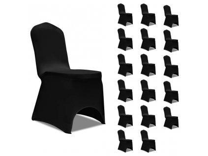 Potahy na židle napínací černé 18 ks