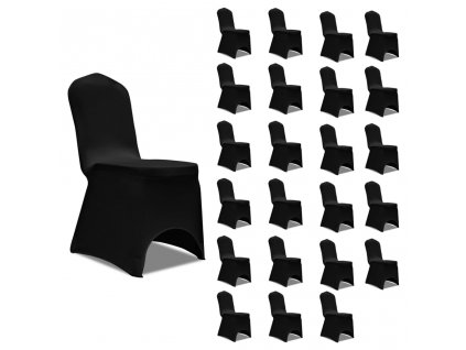 Potahy na židle napínací černé 24 ks
