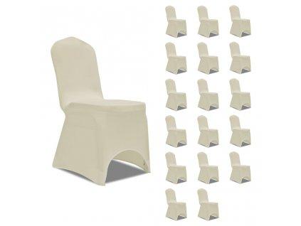 Potahy na židle napínací krémové 18 ks